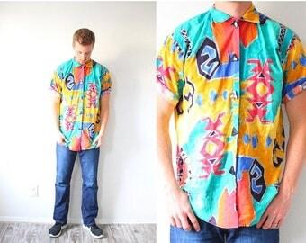40% OFF CHRISTMAS in JULY Retro vintage mens hipster shirt // neon aztec print // aztec top // tribal print // southwestern shirt // Medium/