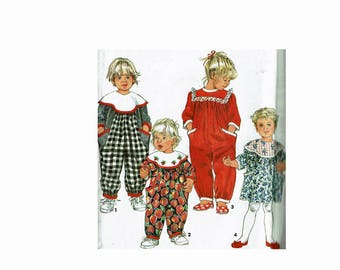 Toddler Little Girl's Jumpsuit and Dress Uncut Sewing Pattern Balloon Pants Wide Collar Sizes 1 2 3 4 Simplicity 8199