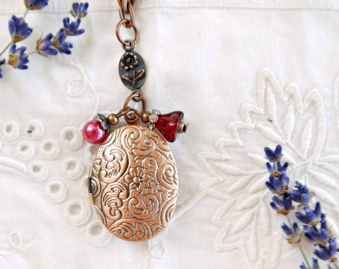antique copper oval photo locket necklace with red glass charms, victorian style flower scrolls foto locket wit red glass bead charms