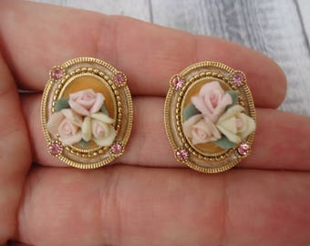 Vintage 1928 Gold Tone Pierced Post Oval Earrings w/ Pink Porcelain Roses and Pink Rhinestones