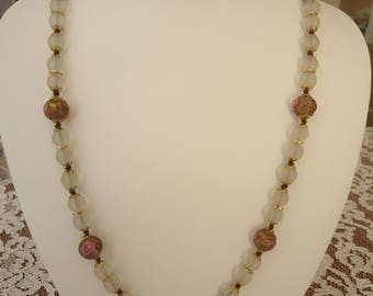 Vintage Glass Beaded Necklace, Frosted Clear Beads, Gold Tone Bead Caps and Spacers, Wedding Cake Glass Beads, 24""