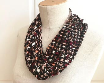 SALE Stretch Jersey Knit Infinity Scarf. Black and Brown Houndstooth.