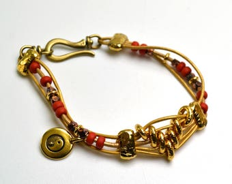Metallic Champagne Indian Leather Bracelet Orange Seed Beads Gold Tone Sliders and Hook Clasp