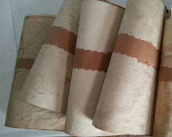 bundle of coffee dyed papers for crafts | large sheets of hand dyed paper | coffee stained paper | junk journal paper supply | collage paper