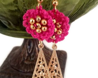 Crochet Earrings, Beaded Earrings, Beaded Crochet Earrings, Pink Earrings, Filigree Earrings, Dangle Earrings, Fiber Earrings, Metal Charms