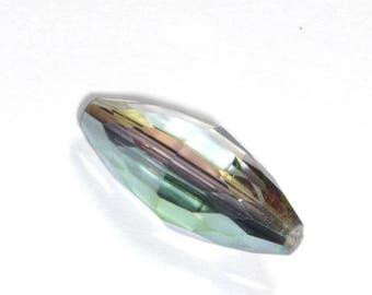 Perle ovale en verre transparent irisé18x8mm