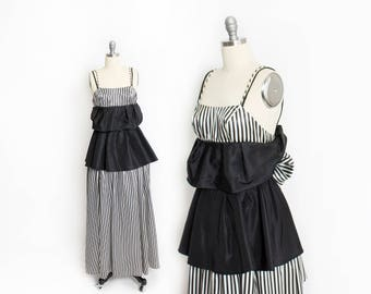 Vintage GUNNE SAX Dress - 1980s Black & White Stripe full Length Party Prom Gown - XXS Extra Small