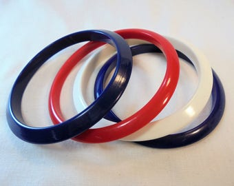 Vintage Red / White / Blue Lucite Bangle / Bracelet Lot of 4 Vintage Plastic Americana 4th of July Mod Retro Statement Runway