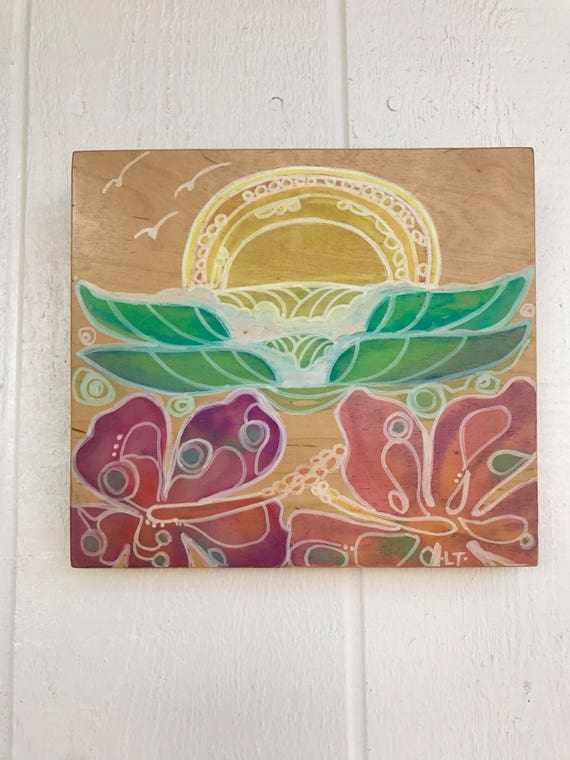 Original Surf Art Hibiscus and Waves on Wood by Lauren Tannehill ART