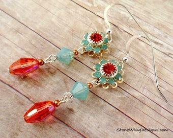 Swarovski Crystal Flower Earrings, Crystal Earrings, Swarovski Earrings, Padparadscha & Pacific Opal Earrings, orange and aqua earrings