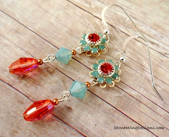 Swarovski Crystal Flower Earrings in Padparadscha & Pacific Opal