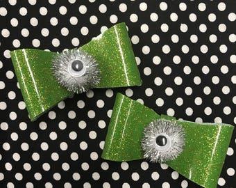 Green Sparkle Vinyl Eye Ball Hair Bow Set