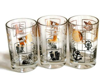 Nautical Drinking Glasses, Vintage Juice Glasses, Gold Black Tumblers, Beach Decor