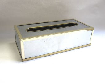 Brass Mirrored Tissue Cover Gold Silver Kleenex Holder