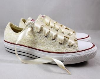 Ready to ship size 7 Wedding Converse - Bridal Converses Size 7 --Ivory Lace Converse -- Wedding Tennis shoes