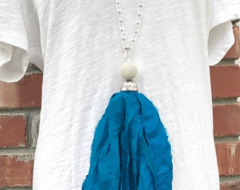 Long Sari Silk tassel necklace. Turquoise. Teal. Bright blue. Carolina panthers. Fabric Tassel Necklace. Boho glam. Tassel necklace.