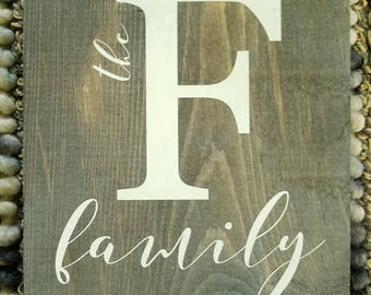 Rustic Faux Barnwood letter F family sign  Wall hanging READY TO SHIP  F family monogram sign