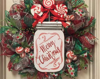 Deco Mesh Christmas Wreath Merry Christmas Holiday Wreath Holiday Christmas Decoration