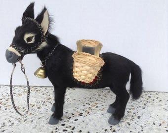Vintage Black Real Hair Donkey / Brass Bell / Rein / Baskets / Toothpick Holder / Sweet Face