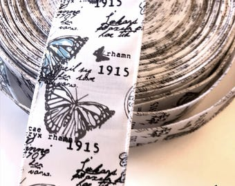 Butterfly wired Ribbon, Vintage Inspired, Newsprint, 1915 Reproduction Ribbon, Monarch, 2 YARDS,  2 1/2 in wide, Wreaths, Bows, Weddings