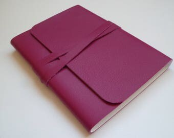 Pink Leather Book Pink Book Leather Sketchbook Travel Journal Leather Journal Leather Book. Fuchsia Pink with a Fine Grain.