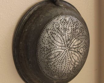 1800s Tin Colander, Strainer, Sieve, Antique, Kitchen Decor, Farmhouse