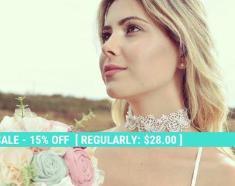 SUMMER SALE lace bridal necklace, lace choker, bridal necklace, romantic lace choker, ivory lace collar