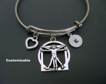 Vitruvian Man Bracelet / Vitruvian Man Bangle /  Leonardo da Vinci Bracelet / Personalized Bracelet / Adjustable Charm Bangle