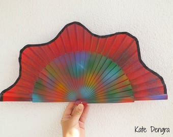Tie Dye Rave Wooden Hand Fan Red SIZE OPTIONS Made to Order by Kate Dengra Spain Folding Handheld Fan