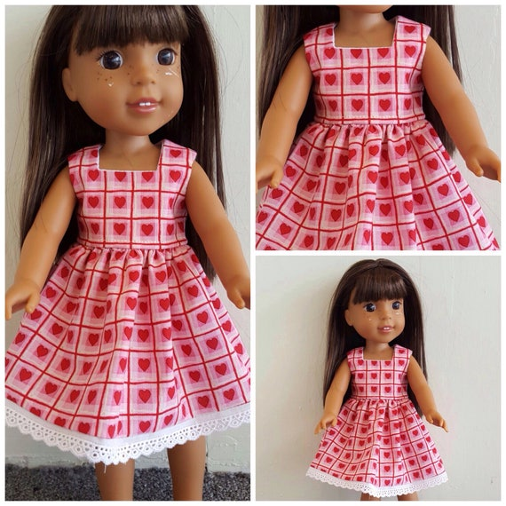 Wellie Wisher Doll  Valentine  Dress For the 14 Inch doll