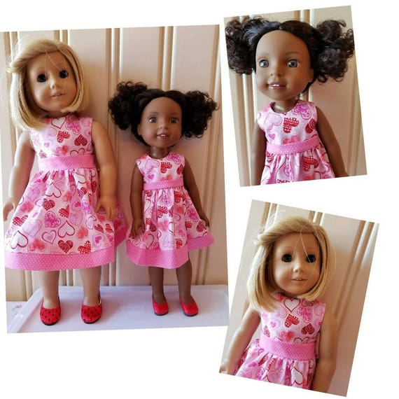 Valentine Hearts Dress for  Wisher Wisher  or American Girl Doll