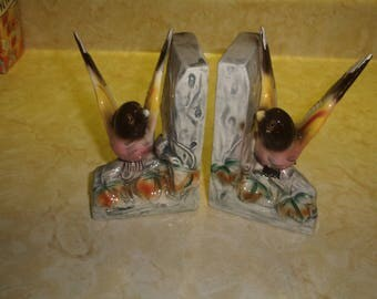 vintage pair bookends colorful birds
