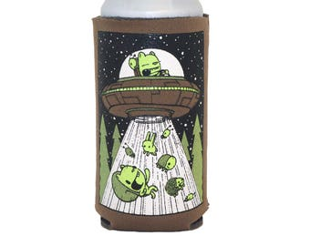 ufo 16oz can coolie, craft beer gift, beer cozy, sci-fi gift, gifts under 10