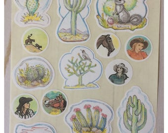 Ranch Girl Cowgirl and Desert Cactus Stickers by Artist Donna Mallory