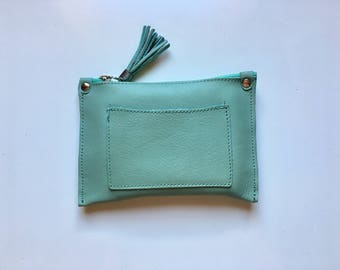 Small genuine AQUA green leather purse or BAG , iPhone case, cosmetics bag or make up up pouch. Purse in aqua green  soft leather.