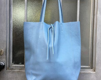 TOTE leather bag in CHALK blue. Soft natural  leather bag