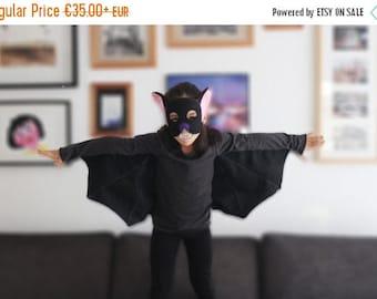 Bat halloween costume, kids halloween costume, bat mask, bat wings, bat t-shirt, bat costume girl, bat costume boy, unisex costume, bat kit
