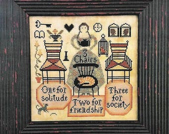 Pre-order CARRIAGE HOUSE SAMPLINGS Three Chairs counted cross stitch patterns at thecottageneedle.com Spring Mother's Day