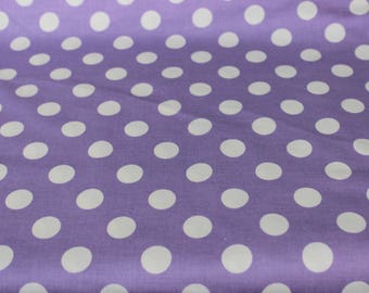 Lavender and White Medium Polka Dots Cotton Fabric by Riley Blake, Maxi Skirts, Pillowcases, Baby Car Seat Cover, Vintage Aprons,