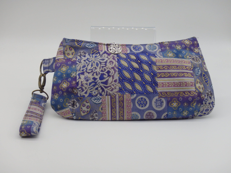 Boho Clutch, Blue & Purple Wristlet, Bohemian Purse, Patchwork Bag ...