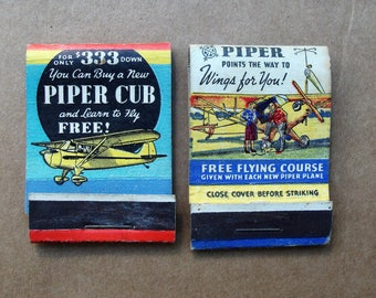 Vintage Piper CUB Airplane Matchbook Covers 1940's, Vintage aircraft art matchbooks