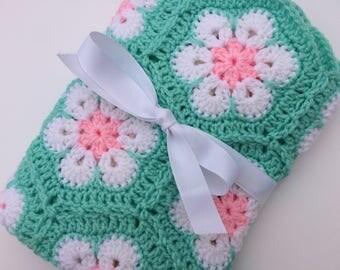 African flower baby blanket crochet white pink mint green blanket