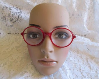 Vintage Red Round Ellen Tracy Eyeglass Frames