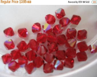 CLEARANCE Swarovski Siam Red AB Article 5301 Bi-cones 5mm Qty - 27 ONLY Lot