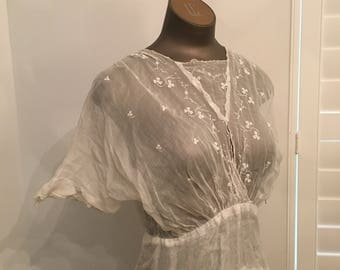 Antique turn of century white cotton gauze spring frock