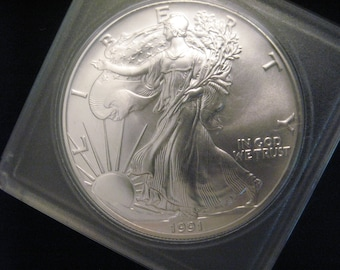 Walking Silver Round US Eagle 1991 vintage Gem Beautiful Uncirculated 1 oz silver .999  in plastic case