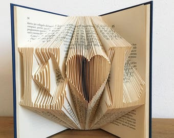 Initial's with a heart, Names Folded Book Art, Wedding, Anniversary Gift