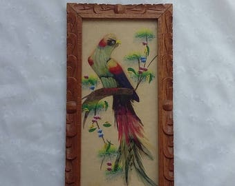 CHRISTMAS in JULY SALE Vintage Wood Framed Feather Bird Wall Hanging
