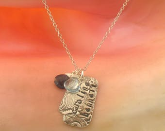 Cirque Tag Necklace, Mothers Charms, Children's names and Birthstones, gift for mom, family necklace, children's names, push present