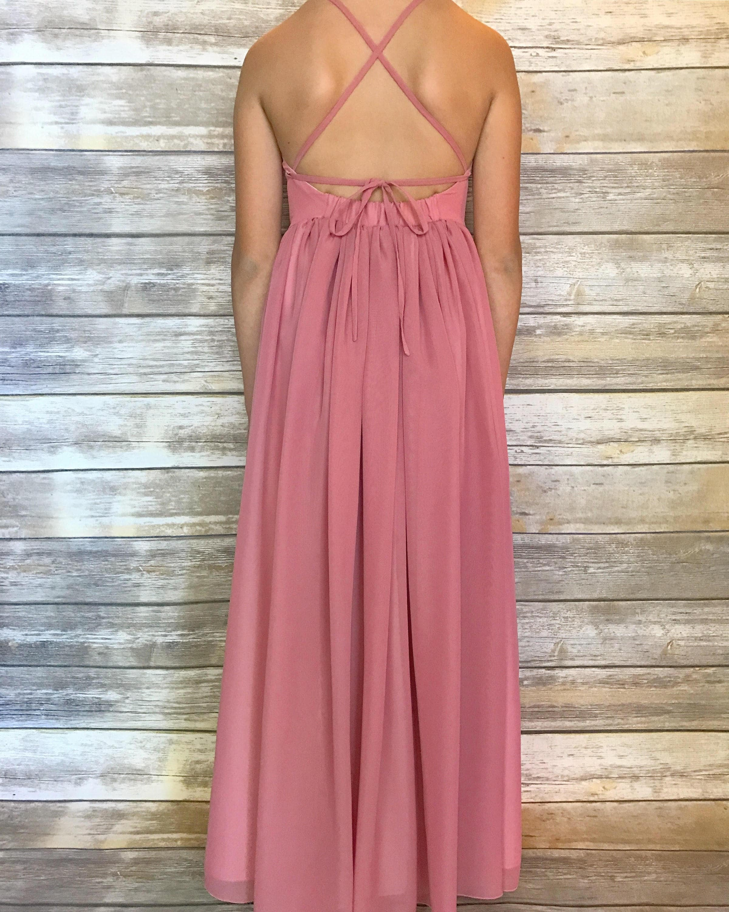 Dusty Pink Flower Girl Dress Floor Length Dress Dusty Pink